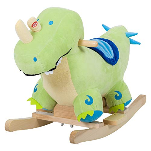 - Qaba Kids Plush Ride-On Rocking Horse Toy Dinosaur Ride on Rocker - Green with Realistic Sounds