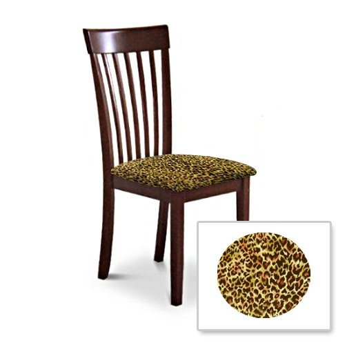 2 New Cappuccino / Espresso Finish Wooden Dining Chairs With A Cheetah Animal Print Padded Seat Cushion Theme! by The Furniture Cove