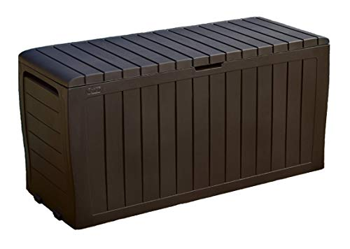 Deck Boxes Keter Marvel Plus 71 Gallon Resin Outdoor Storage Box for Patio Furniture Cushion Storage, Brown outdoor deck boxes