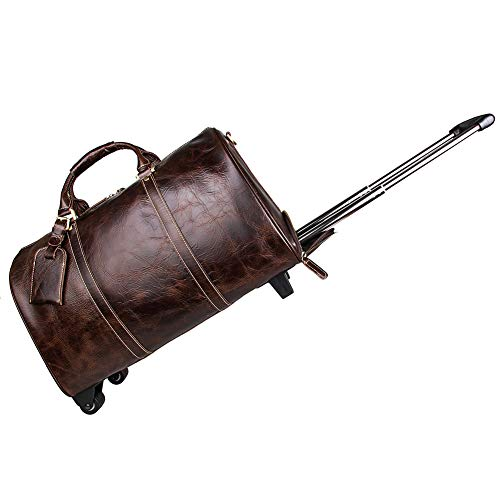 - GLOOZD Leather Travel Duffels Bag Capacity 20-35L Medium Trolley Case Luggage Bag for Family Weekend Trips(Chocolate Color)