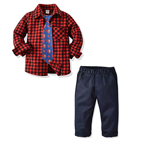 Todder Kids Gentleman Outfits,Crytech Baby Boy Formal Long Sleeve Plaid Button Up Blouse Top T-Shirt with Floral Tie Overalls Elastic Waist Pants Clothes Set 24M-9Y (2-3 Years, Red)