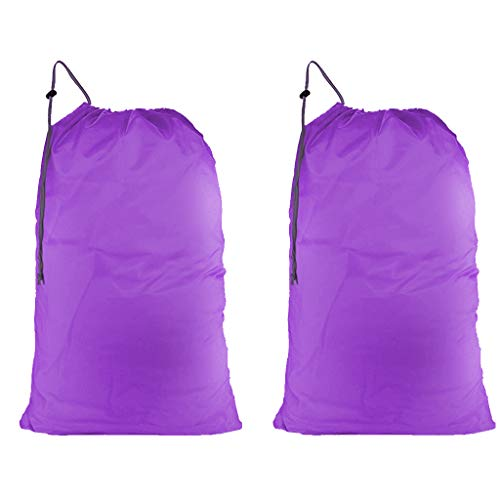 (WildAuto Large Laundry Bag with Drawstring Closure Heavy Duty Durable Nylon Laundry Bag for Travels,Home Storage,College Dorms (Purple, 2PCS))