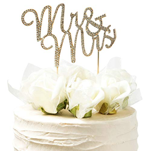 Wedding Cake Topper, Gold, Mr and Mrs, With Crystal Rhinestones- By Lemon Sherbet Cake Designs