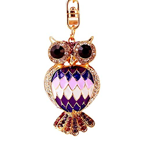 Charm 3D Animal Crystal Keyring Bag Purse Car Key Chains Rings Jewelry Gifts New (Options - #5 Cute Owl -Purple)