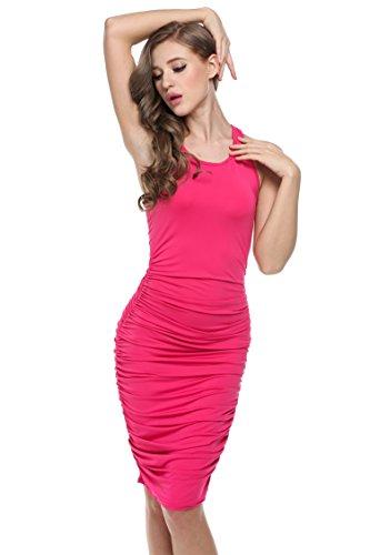 cooshional Vestido corto sin mangas vestido plisado de lápiz para las mujeres Rosa roja