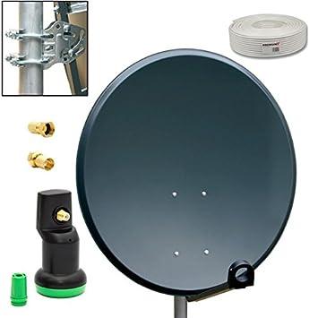 PremiumX Camping vía sistema de 45 cm plato de antena espejo antracita full HD + Golden