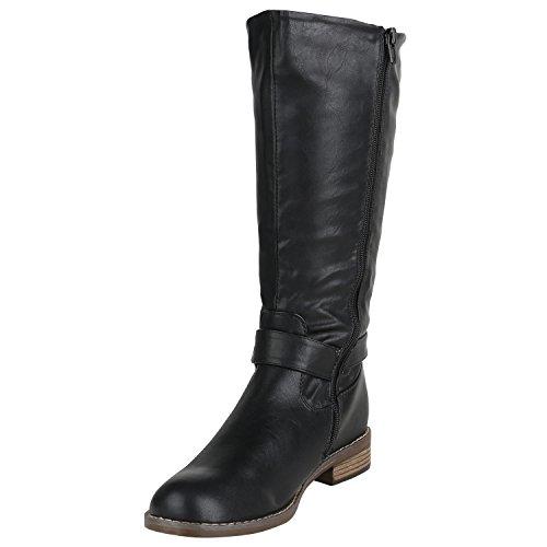 Stiefelparadies Klassische Damen Stiefel Langschaftstiefel Velours Schnallen Schuhe Blockabsatz Damenstiefel Flandell Schwarz Avelar