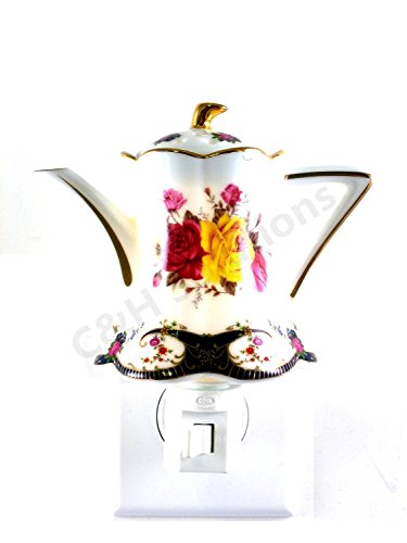 Refined Elegance Floral Teapot Porcelain Flower Night light, nightlight by C&H®