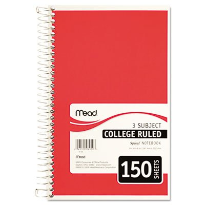 "043100069003 - Mead 3-Subject Wirebound College Ruled Notebook, 9.5"" x 6"" carousel main 4"