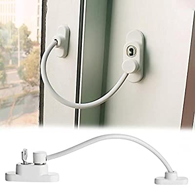 Coohole New 1pc Window Door Restrictor Child Baby Safety Security Cable Lock Catch Wire, White