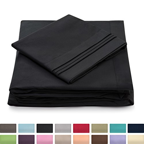California King Bed Sheets - Black Luxury Sheet Set - Deep Pocket - Super Soft Hotel Bedding - Cool & Wrinkle Free - 1 Fitted, 1 Flat, 2 Pillow Cases - Cal King Sheets - 4 Piece