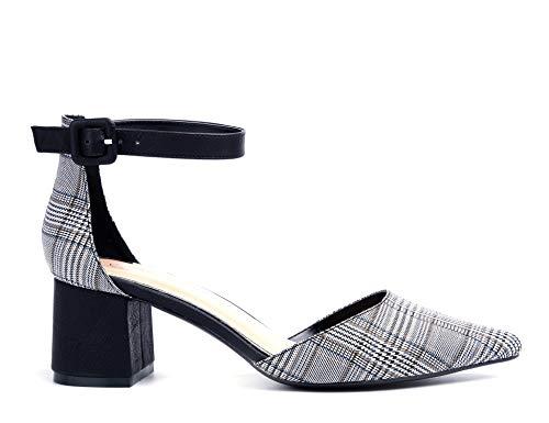 Cour Bloc Talon Pointu Mid Femmes Grille Sandales Lanières Cheville Greatonu Chaussures Bout Noir xXHI8qwR