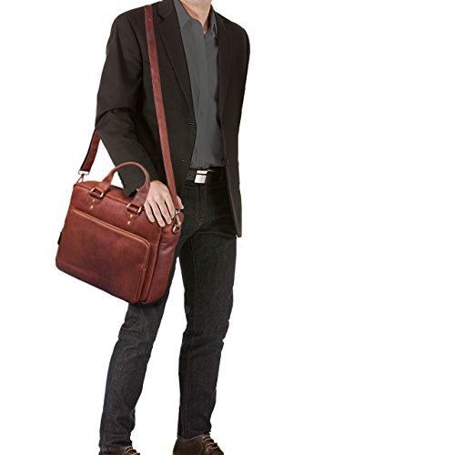 STILORD Jack Ledertasche Aktentasche Herren Vintage Umhängetasche für Büro Business Arbeit 13,3 Zoll Laptoptasche für große DIN A4 Aktenordner echtes Leder, Farbe:cognac - dunkelbraun cognac - braun