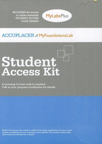 ACCUPLACER/MyFoundationsLab Plus without Pearson eText -- Standalone Access Card (12-month Access)