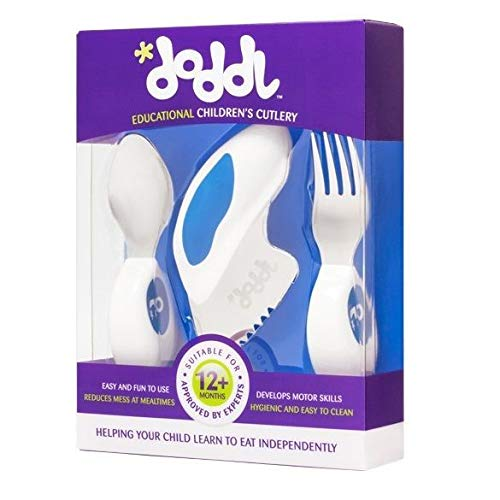 Doddl Cutlery Set for Children, Toddlers or Babies 12 Months +, Knife, Fork & Spoon Flatware That Promotes Self Feeding Helping Your Child to Use Silverware Utensils in The Right Way (Blueberry Blue)
