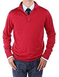 Luciano Natazzi Men's Mock Neck Elbow Patch Quarter Button Sweater Relaxed Fit