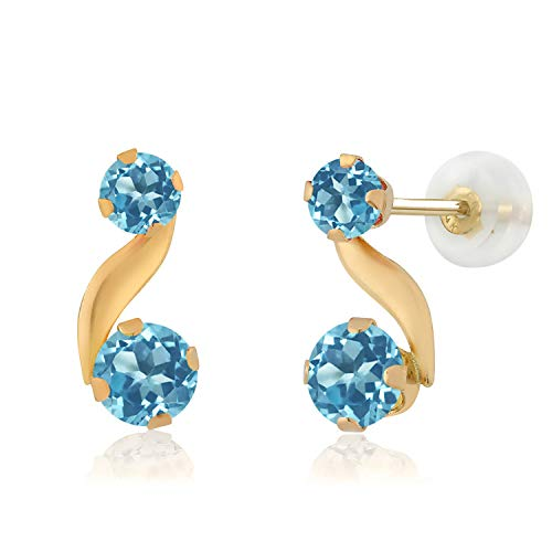 - Gem Stone King 0.96 Ct Round Swiss Blue Topaz 14K Yellow Gold Earrings