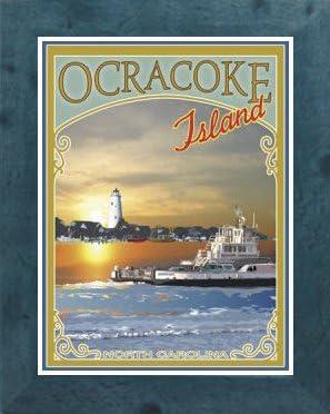 Ocracoke Island Ferry Vintage Art Deco Style Travel Poster-by Aurelio Grisanty