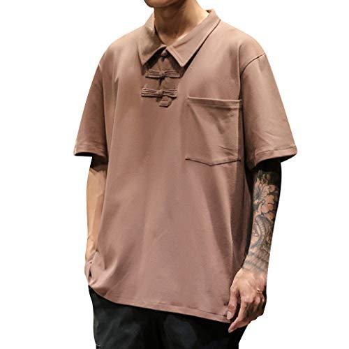 LOMONER Men's Summer Casual Vintage Style Patchwork Lapel Short Sleeve T-shirt Tops ()