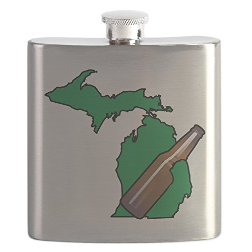 CafePress - Michigan Beer - Stainless Steel Flask, 6oz Drinking Flask
