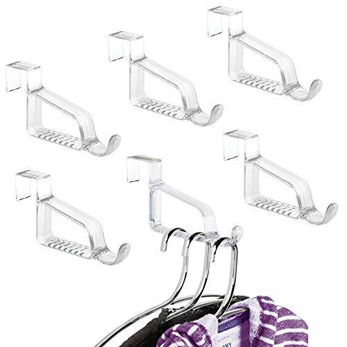 mDesign Modern Over Door Valet Hook - Multi Hanging Storage Organizer, Hook - for Coats, Hoodies, Hats, Scarves, Purses, Bath Towels & Robes - 6 Pack - Clear