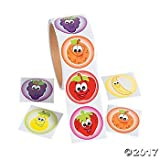200 FRUIT Smile Face STICKERS - 2 Rolls of 100 - Apple Orange Banana PEAR...
