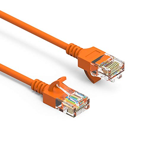 GOWOS Cat6a Slim UTP Ethernet Cable (3 Feet - Orange) 28AWG Network Cable with Gold Plated RJ45 Molded/Booted Connector - 10 Gigabit/Sec High Speed LAN Internet/Patch Cable - 550MHz