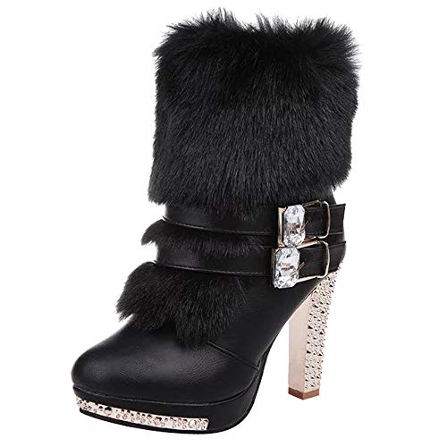 Realdo Clearance Sale Women Fashion Buckle Strap Crystal Middle Tube Faux Fur Boots High Heels Shoes(US 7.5,Black)