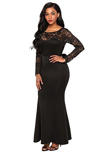 Chase Secret Womens Lace Long Sleeve Bow Back Elegant Evening Gown Fishail Maxi Dress X-Large Black