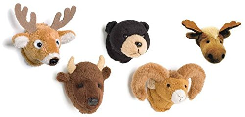 Large Black Bear - White-Tail Deer, Moose, Black Bear, Buffalo and Big Horn Sheep Mounted Head Magnet Bundle by SAH