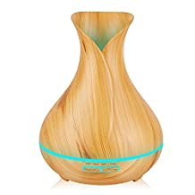 KBAYBO 400ml Aroma Essential Oil Diffuser Ultrasonic Air Humidifier with Wood Grain 7 Color Changing LED Lights for Office Home (Light Wood)