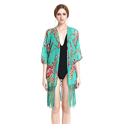 Beach Cover Up, Vitalismo One Piece Beach Wear Women Tassel Floral Bikini Blouse Swimwear