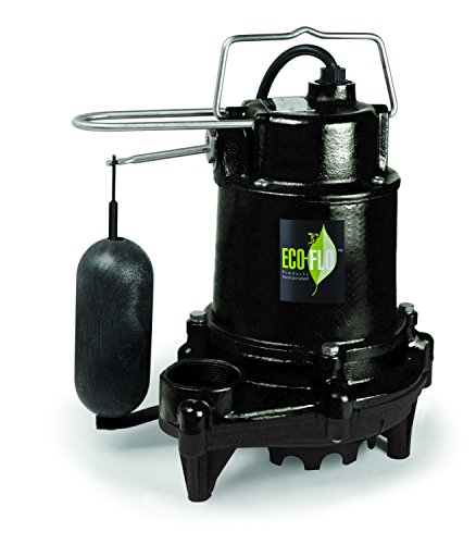 ECO-FLO Products EFSA50 Cast Iron Sump Pump with Vertical Switch, 1/2 HP, 5,160 GPH, Black ()