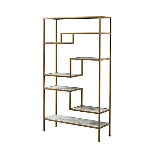 Versanora VNF-00035 Marmo Large 5-Tier Display Etagere Bookcase, 40.00x13.50x72.00, Faux Marble/Brass