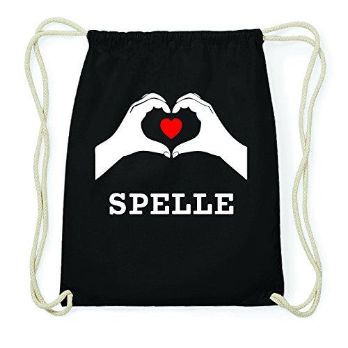 JOllify SPELLE Hipster Turnbeutel Tasche Rucksack aus Baumwolle - Farbe: schwarz Design: Hände Herz