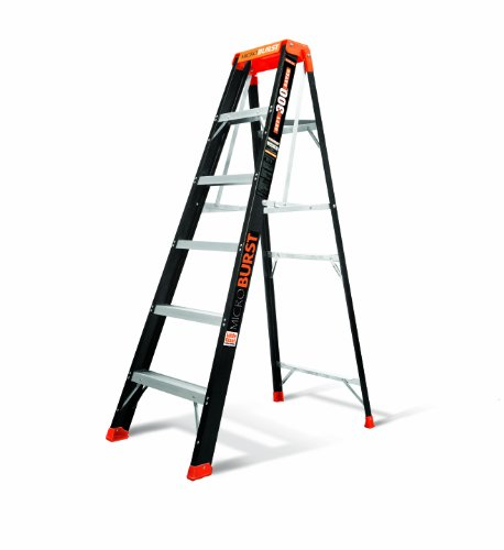MicroBurst Fold-Flat 300-Pound Duty Rating Fiberglass Stepladder, 6-Foot