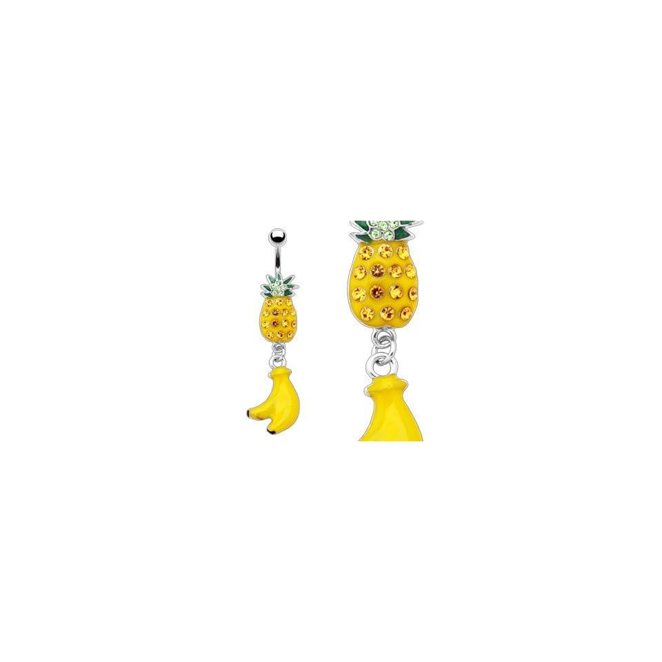 Enameled Pinapple with Gem Belly Ring and Banana Dangle   14G   3/8 Bar Length   Sold Individually