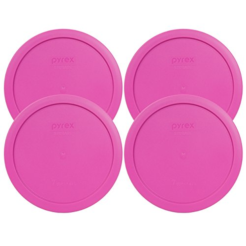 Pyrex 7402-PC Round 6/7 Cup Storage Lid for Glass Bowls (4, Pink)