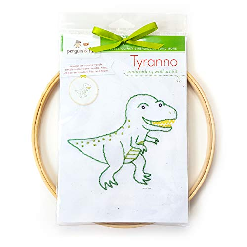Tyranno Dinosaur Hand Embroidery DIY Craft Wall Art Kit, Beginner Learn to Embroider Backstitch, French Knot, 8 inch Hoop, 6 Strand Cotton Floss Thread, Needle, Kids Crafts Boys Girls ()