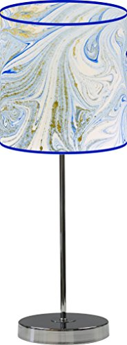 LampPix 10 Inch Custom Printed Table Desk Lamp Shade Marble Lt Blue. Includes Decorative Chrome 15 Inch Stand by LampPix