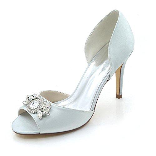L@YC Zapatos de mujer Cómodo Zapatos de novia Tacón fino Peep Toe Boda Nocturna y Multicolor Gray