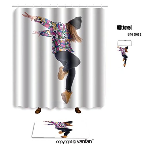 Funky Street Dance Costumes (vanfan bath sets with Polyester rugs and shower curtain young woman dancing street dance 287405363 shower curtains sets bathroom 69 x 84 inches&31.5 x 19.7 inches(Free 1 towel and 12 hooks))