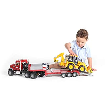 Bruder 02813 Mack Granite Flatbed Truck with JCB Loader Backhoe: Toys & Games