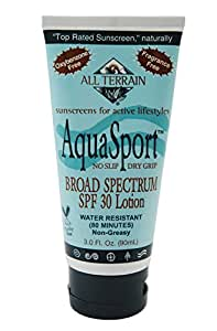 All Terrain Aqua Sport SPF30 Oxybenzone-Free Natural Sunscreen Lotion, 1-Ounce