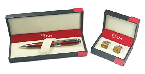 By Jingo Red Opal Pen: Bronze Cufflinks Ballpoint Pen, Golden (5502280213) by By Jingo