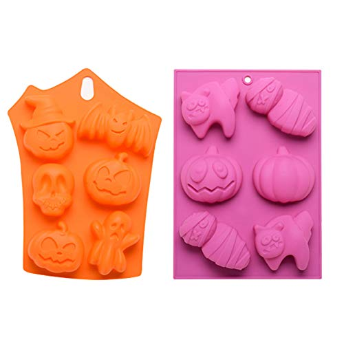 GNGS Halloween Flexible Silicone Molds | Non-stick Baking Molds for Cookie, Chocolate, Cake, Candy | Set of 2, in Orange and Purple