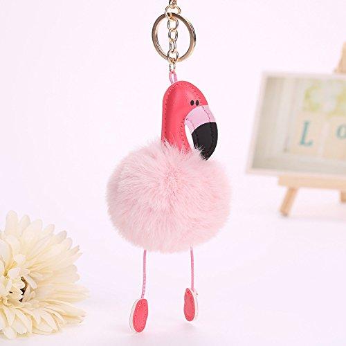 Tuersuer Environmentally Friendly Interesting Children's gi Cute Flamingo Plush Keychain Faux Rabbit Fur Keychain Handbag Tote Bag Pendant Key Ring Best Gift (Color : Light Pink)