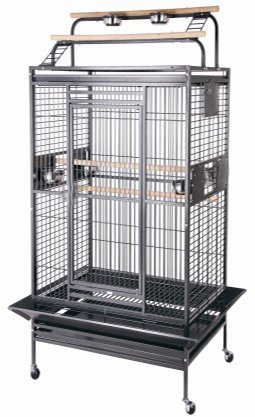 New Large Play Top Bird Cage Parttot Finch Macaw Cockatoo Bird Wrought Iron...