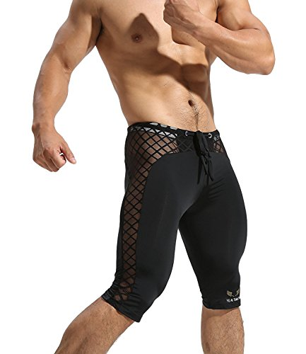 MIZOK Men's Soft Mesh Cool Dry Compression Yoga Workout Tight Shorts