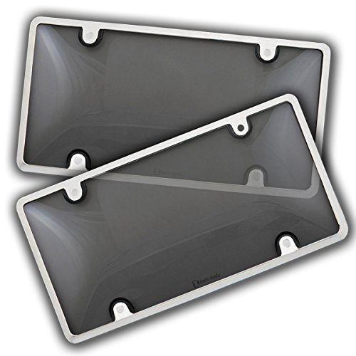 Zento Deals 2 Pack -Durable All Weather License Plate Cover and Frame – Unbreakable Smoke Bubble-Tinted Black Cover and Silver Frame-Fits All Standard 6x12 Inches Novelty/License Plates (Smoke Covers Tint)